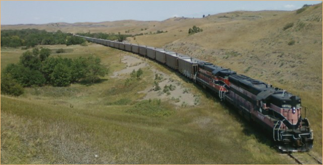 Pulling a unit train west of Oacoma, SD on Dakota Southern